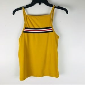 Mustard yellow top with lines